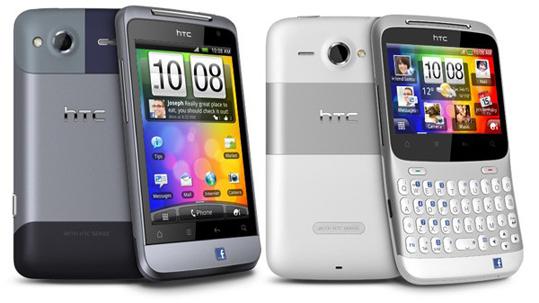 Die Smartphones ChaCha und Salsa von HTC besitzen beide einen exklusiven Facebook-Button. (Bild: HTC)